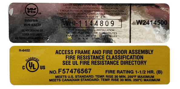 Fire-Rated Access Door Labels